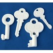 "Key Set of 4 With Words makes 4 different sized keys. Each Key has a word on it. The Secret Key measures 1 7/8"" x 1 1/4"", the Dreams Key measures 2"" x 1"", the Journey Key measures 1 7/8"" x 3/4"", and the Life Key measures 1 3/4"" x 3/4""."