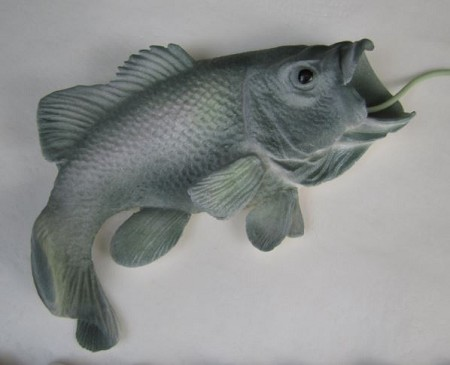 "Largemouth Bass measures 4 1/2"" x 3"" x 3/4"". The finished Largemouth Bass was created by Jennifer Dontz and is made of chocolate."