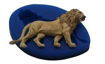 "Lion mold, by First Impressions, measures 4 1/2"" x 2 1/2""."