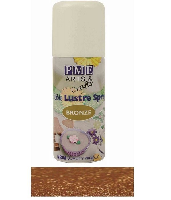 Luster Spray Bronze by PME. Spray container contains 100 ML (3.38 ounces) of edible Luster Spray. This edible Luster Spray is designed to decorate and color cakes, sugar, cookies, icing, gumpaste, fondant, etc… Because the Luster Spray is in a combustible, high pressure spray can, we must ship this product via USPS ground standard post. This service can take up to a week for delivery. No international orders please.