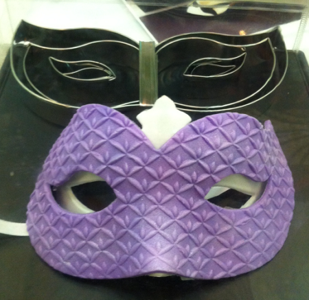 "Mardi Gras Mask Set, by Fiesta, comes in two different sizes. The larger Mask measures 4 1/4"" x 9 1/2"" and the smaller Mask measures 3 1/4"" x 8 1/4""."
