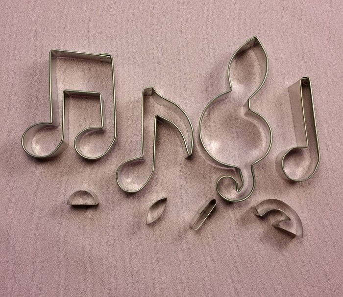 "Musical Note Cutter Set Medium #2 creates 4 different shaped musical notes. Each musical note measures approximately 2 1/2"" tall."
