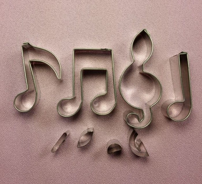 "Musical Note Cutter Set Small #2 includes 4 different musical notes. Each musical note measures approximately 1 3/4"" tall."