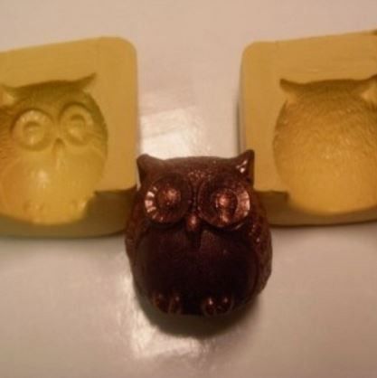"Owl 3D two piece silicone mold, by Simi Cakes, measures approximately 1 1/2"" x 1 1/2"" x 1 1/2"" when completed."