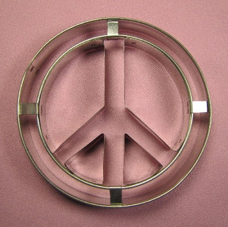 "Peace Sign Large measures 4"" x 4""."