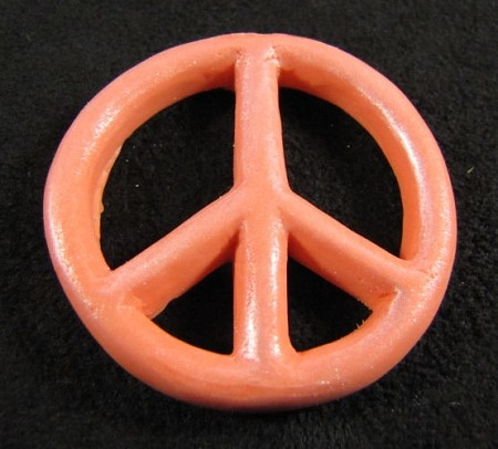 "Peace Sign mold By Jennifer Dontz measures 1 1/2"" in Diameter."