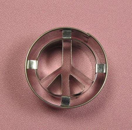 "Peace Sign Miniature measures approximately 1 5/8"" x 1 5/8""."