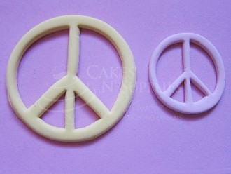 "Peace Sign Large measures 3 1/4"" x 3 1/4"". Photo and product by:  Cakes By Ximena"