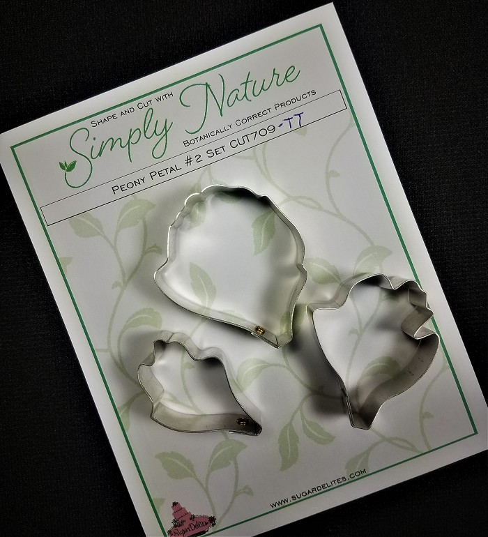 "Peony Petal Cutter #2 Set by Simply Nature Botanically Correct Products, was designed by Jason Dontz and Jennifer Dontz of Sugar Delites, and creates the most realistic Peony petal interpretations possible. This Peony Petal #2 cutter set includes 3 different sized Peony petal cutters. From largest to smallest, each cutter measures 2"" x 1 ½"", 1 3/4"" x 1 3/8"", and 1 3/8"" x 1"". This cutter set is designed to be paired with the Simply Nature Botanically Correct Peony Petal #2 Veiner (VEI177). When paired together, the Simply Nature brand cutters and veiners will create a detailed botanically correct replication of nature."