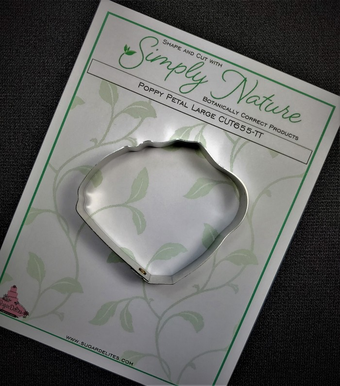 "Poppy Petal Cutter Large by Simply Nature Botanically Correct Products®, was designed by Jason Dontz and Jennifer Dontz of Sugar Delites, and creates the most realistic Poppy petal interpretation possible. The large Poppy petal cutter measures 2 1/8"" x 2 1/2"". This cutter is designed to be paired with the Simply Nature Botanically Correct Large Poppy Petal Veiner (VEI142). When paired together, Simply Nature brand cutters and veiners will create a detailed botanically correct replication of nature."