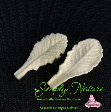 "Primrose Leaf Veiner Small by Simply Nature Botanically Correct Products, was created by Jason Dontz and Jennifer Dontz of Sugar Delites, and creates the most realistic Primrose Leaf interpretation possible. The Small Primrose leaf veiner measures 2"" x 7/8"". Simply Nature brand veiners capture each ruffle, pillow & vein because they were created from the actual top and the actual bottom of each leaf or petal, thus creating the most realistic replica of nature. Botanically correct veiners leave room for your wire and will not cut your paste and since the veiners were created by nature, they also shape and form your medium as well. Each Simply Nature Brand veiner is made in the USA and is poured using the highest quality platinum based, food approved silicone. The matching cutter(s) for this veiner(s) is CUT724."