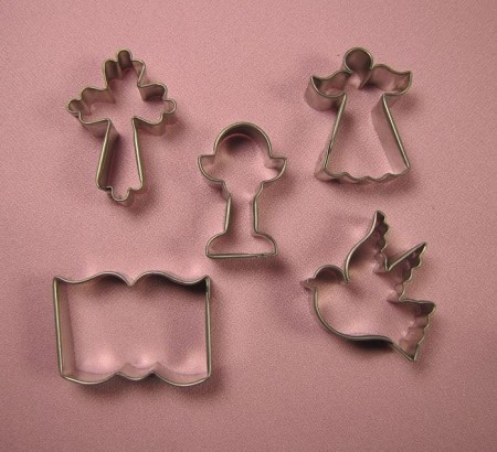 "Religion Communion Set of 5, by Sugar Delites, includes 5 Religion themed cutters. Each cutter measures approximately 1 1/2"" x 2""."