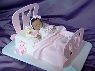 "Baby Rocking Bed Large.  Photo and product by:  Cakes by Ximena, Fits on a 7"" x 11"" cake. The mattress is the actual 7"" x 11"" cake. The headboard measures 8 3/4"" x 7 3/4"". The footboard measures 8 3/4"" x 5 3/4"". Set includes heart and slot cutters for the foot and headboards. Instructions included."
