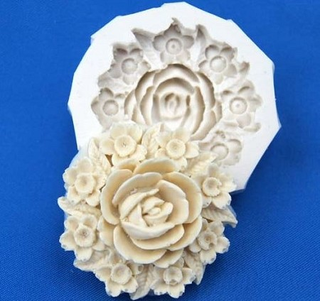 "Carved Rose Flower measures 1 1/8"" in diameter."