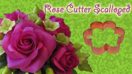 "Scalloped Rose Petal Cutter measures 3 3/4"" x 3 3/4""."