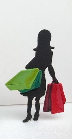 "Shopaholic Fashionista (C) Shopper, by Ximenia, measures approximately 7"" x 3 3/4"" when completed."