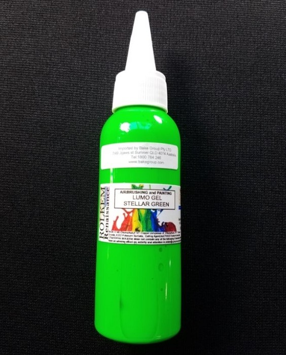 Stellar Green Lumo Gel Paint By Rolkem 100ML. This gel paint is approved for food use in Australia, the UK and other European Union countries, otherwise it is classified as non-toxic and for decorative use only. Lumo gel paints are UV reactive and glow in the dark under a black light and the colors do not fade. Lumo gel paints can be used by painting directly on fondant or by mixing into frosting or paste. Color may vary slightly from batch to batch.