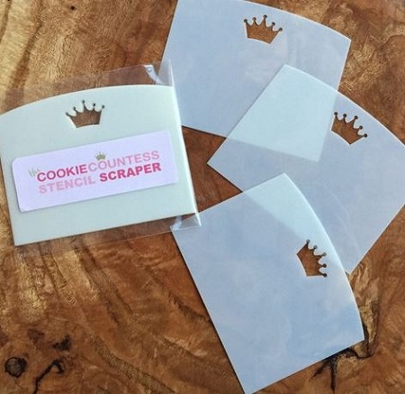 "Stencil Scraper 3 Pack, by The Cookie Countess, includes 3 scrapers that are perfect for use with royal icing. Each scraper blade measures 4 1/2"" long."