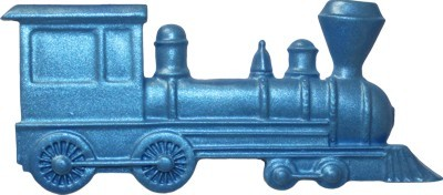 "Train Baby Toy, by First Impressions, measures 2"" x 4 1/2"" x 1/8""."