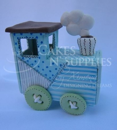 "Train Baby Choo Choo, by Ximenia, measures approximately 3 1/2"" x 2"" x 3 1/2"" when completed. Instructional diagram sheet included."