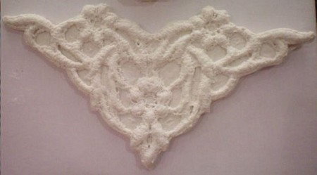 "Lace Scalloped Triangle measures 4 1/2"" x 2""."