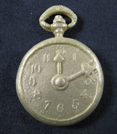 "Steampunk Pocket Watch, designed by Gary Silverthorn, measures approximately 1 3/4"" x 1 3/4"" x 1/4"".  This mold/watch has a ""distressed"" (imperfect) look to make it look aged."