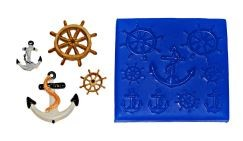 "Cavities - 9: Small ship's wheel and anchor, and a number of mini wheels. Perfect for accents on cakes, cupcakes, cookies, brownies, or petit fours.  Outer dimensions of the mold itself is 3""  x 3"""