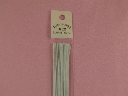 Wire #28 White, approximately 50 paper covered wires per package. These wires are the highest quality and are great for gumpaste work.